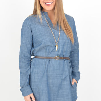 Long Sleeve Medium Wash Chambray Shirt Dress with V-Neckline