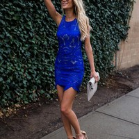 Majestic Lace Dress - Cobalt Blue