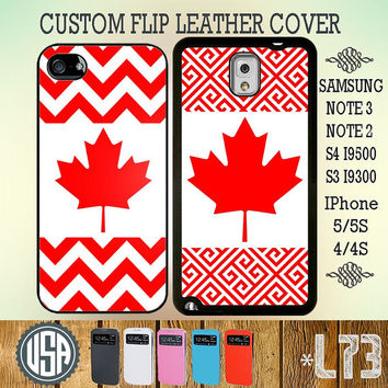Canada Chevron Flag Flip Leather Cover IPhone 5 Case 5S IPhone 4 Case 4S Samsung Galaxy S4 Case Galaxy S3 Cover Samsung Note 3 Note 2 L73