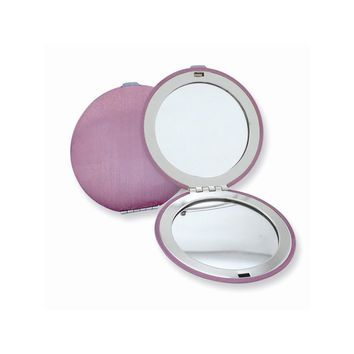 Pink or Red Finish Brushed Aluminum Compact Mirror - Engravable Gift Item
