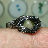 Size 6.25 Tourmaline Cab Ring Wrapped Antiqued 925 Sterling Silver