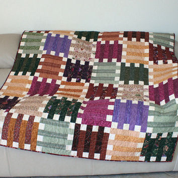 Back to School Squares and Strips Throw Quilt from Acorn Hollow Fabrics in Earthtone Colors - Graduation Gift - Dorm Quilt