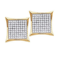 Round Diamond Ladies Micro Pave Fashion Earrings in 10k Gold 0.9 ctw