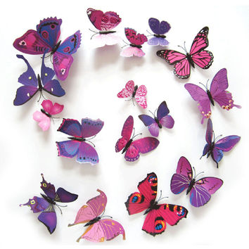 12pcs/lot 3D PVC Wall Stickers Magnet Butterflies DIY Wall Sticker for Kids Room Decor