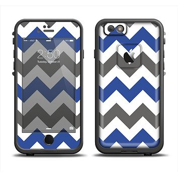 The Gray & Navy Blue Chevron Apple iPhone 6 LifeProof Fre Case Skin Set