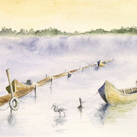 Fall Landscape with Fishing Boats in the Delta watercolor art print