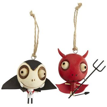 Wood Dracula & Devil Ornaments