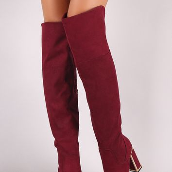 Bamboo Suede Pointy Toe Metallic Chunky Heeled Over-The-Knee Boots
