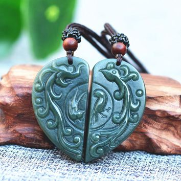 Natural Green HETIAN Jade Heart-shaped Pendant Carved Dragon Phoenix Pendant Necklace Jewelry