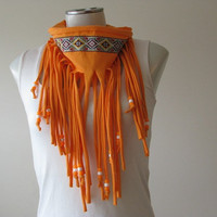 Hipster Fringe Scarf, Bright Orange Jersey Infinity scarf with beads and tribal trim