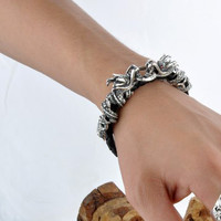 Double Dragon Twin Bracelet for Men's Retro Jewelry Leather Bracelet