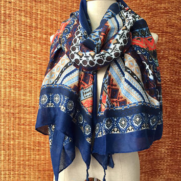 Tassel Festival boho Scarf Shawl Wrap Aztec Elephants Fashion Stripe Bohemian Boho Beach cover Warm winter Light Cotton Gift for men women