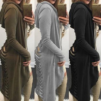 New 2017 Gothic Women Ladies Cut Out Cardigan Long Ripped Back Hooded Coat Sweater