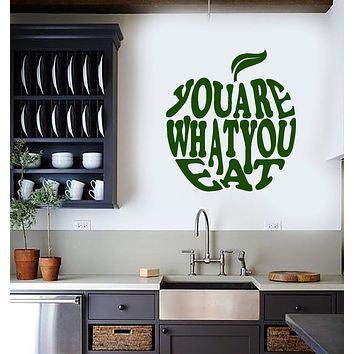 Vinyl Wall Decal Healthy Lifestyle Quote Apple Diet Inspire Art Kitchen Decor Stickers Mural (ig5600)