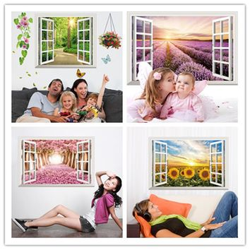 [SHIJUEHEZI] Fake Window 3D Wall Sticker Vinyl Material Multi Color Mural Art for Living Room Sofa Background Bedroom Decoration