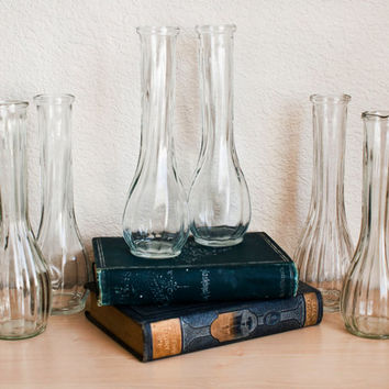 SALE Vintage Clear Glass Vases for Weddings and Showers (Set of 6)