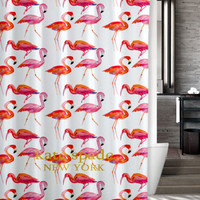 "New Design Kate Spade Pink Flamingo Pattern Custom Shower Curtain 66"" x 72"""