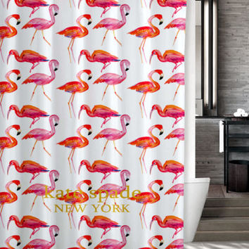 "New Kate Spade Pink Flamingo Pattern Custom Shower Curtain 60"" x 72"""