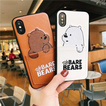 Cartoon Bear for iphone XS MAX XR Case Leather Soft TPU With Card Pocket Phone Case For iPhone 6 6S 7 8 X Plus XS MAX XR Case i7