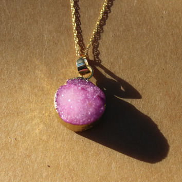 Pink Druzy Necklace, Pink Geode Necklace,  Pink Stone Necklace,  Boho Chic Necklace, Bohemian Jewelry
