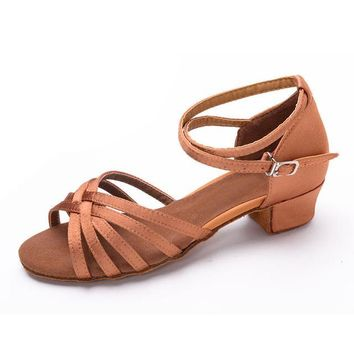 Beige color low heel latin ballroom dance shoes high quality popular style for children kids girls women ladies