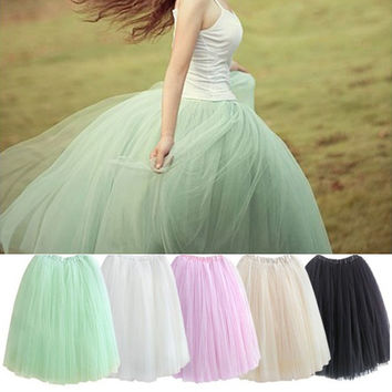 2016 Womens Lace Princess Fairy Style 5 layers Voile Tulle Skirt Bouffant Puffy Fashion Skirt Long Skirts summer free shipping