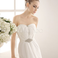 Strapless Bridal Wedding Gown With Rhinestones Detailing
