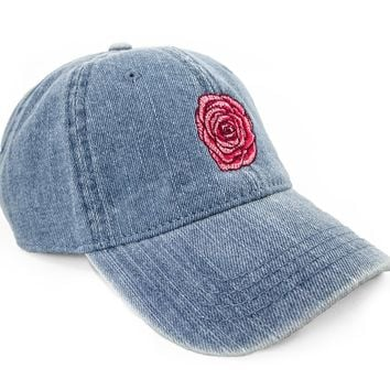 Embroidered Rose Dad Hat
