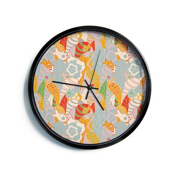 """Akwaflorell """"Fishes Here, Fishes There II"""" Multicolor Modern Wall Clock"""