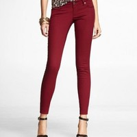 STELLA COLORED JEAN LEGGING-DARK RED at Express