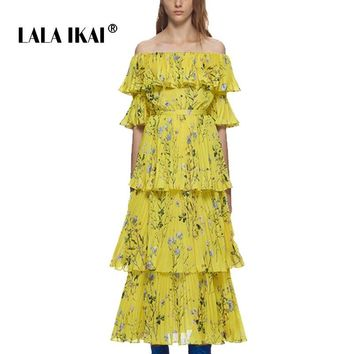 Bohemian Yellow Floral Summer Wommen Long Dresses Off Shoulder Half Cloak Sleeves Dress Pleated Summer Beach Dresses SWC0663 45