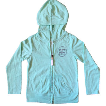 Mint Lightweight Zip-Up Hoodie with Screen Printed Logo