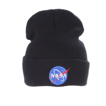 Nasa Beanie Mens & Womens Warm Winter Fashion Unisex Ski Cap Outdoor Knitted Black Cuffed Skully Hat