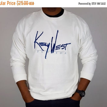 SALE L Vintage Key West Crew Neck White and Blue / Vintage Crew Neck Sweatshirt / White Vintage Crew Neck / Key West USA Souvenir / 80s 90s