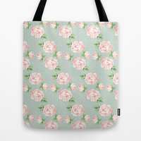 Vintage Roses Pattern Tote Bag by heartlocked