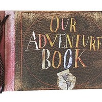 Our Adventure Book DIY Scrapbook/Wedding Photo Album, with Pixar Up Movie Postcards & Stickers (Black Pages)