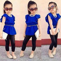 High Quality!! Fashion Baby Girls Butterfly Sleeve High Waist Blouse Tops Slim Pant Two Piece Set