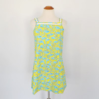 Vintage 1960s 1970s Lilly Pulitzer Flamingo Print Dress 60s The Minnie by Lilly Yellow Cotton Frock Novelty Print Summer Day Dress Small