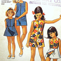 1970s Girls Pantdress and Reversible Wrap Skirt Pattern size 8 UNCUT Easy to Sew