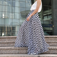 High Waist Stripe Skirts Chiffon Maxi Skirt Beautiful Elastic Waist Summer Skirt Floor Length Long Skirt (173)