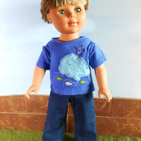 18 Inch Boy Doll Whale T-Shirt and Blue Jeans, Short Sleeved Blue Whale T shirt, 18 Inch Boy Doll Clothes