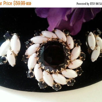 Now On Sale Black & White Rhinestone Brooch Earring Set * 1950's Jewelry * High End Demi Parure * Mad Men Mod * Black Tie Formal * Old Holly