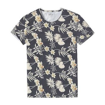 Charcoal Floral Print Tee