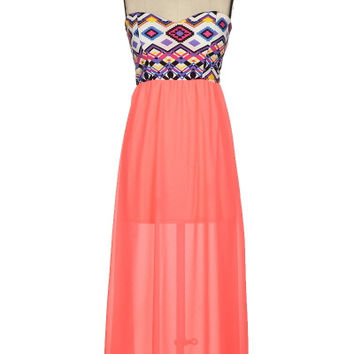 Women's Coral Maxi with Aztec Top