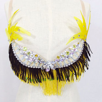 Yellow Indian costume EDC / rave outfit / native American headdress