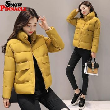 SNOW PINNACLE 2017 Autumn-Winter jacket Women Fashion Warm Thick Solid Short Style Cotton padded Parkas Coat Stand Collar M-XXL