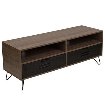 DCCKION Woodridge Collection TV Stand with Metal Drawers and Black Metal Legs
