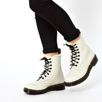 Dr Martens Serena White Sheepskin 8-Eye Boots at asos.com