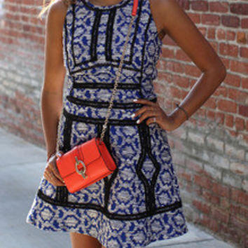Blue Folk Print Dress With Contrast Trims