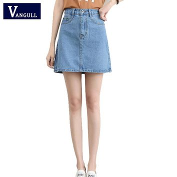 High Waisted Denim Skirt Hot Sale Summer Casual Saias Basic American Style Mini A-Line Jeans Skirts Woman Apparel Blue Denim